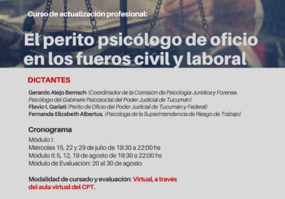 Curso de actualización profesional: El perito psicólogo de oficio en los fueros civil y laboral.