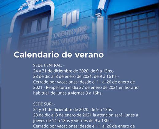 Calendario de verano